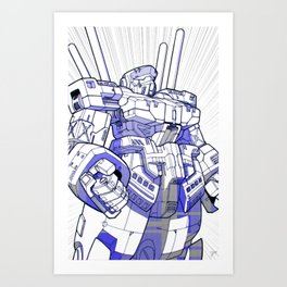 Blue Mecha Art Print