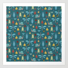 Little Bugs and Mini Beasts on Teal Art Print