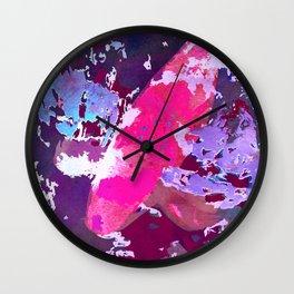 Japanese Koi in Pond - Hot Pink Goldfish Watercolor Art Wall Clock