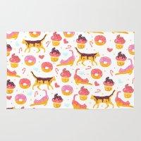 donut Area & Throw Rugs featuring cat donut by Ceren Aksu Dikenci