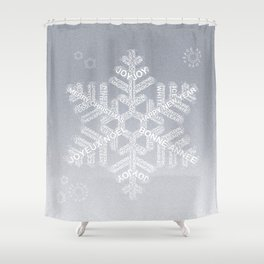 Typographic Snowflake Greetings - Silver Grey Shower Curtain