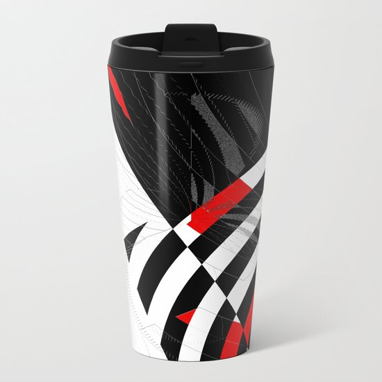 black and white meets red Version 8 Metal Travel Mug