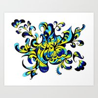 yellow & blue Art Print