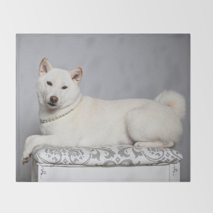 Cream Shiba Inu Dog Throw Blanket by amjackphoto