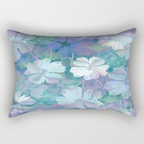 Painterly Midnight Floral Abstract Rectangular Pillow