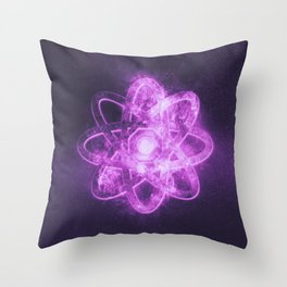 Atom symbol. Abstract night sky background Throw Pillow