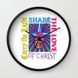 Carry the Light of Christ - White Background Wall Clock