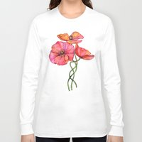 peach Long Sleeve T-shirts featuring Peach & Pink Poppy Tangle by micklyn