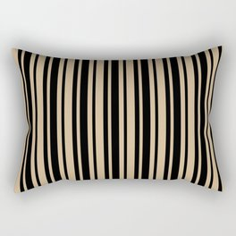 Tan Brown and Black Vertical Var Size Stripes Rectangular Pillow