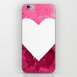 Pink watercolor splash heart texture iPhone Skin