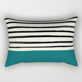 Dark Turquoise & Stripes Rectangular Pillow