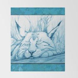 Bobcat nap Throw Blanket