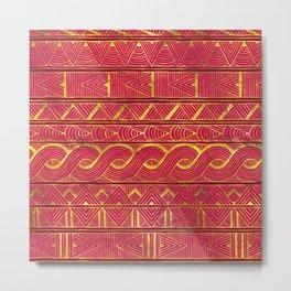 Gold Ethnic Pattern on Deep Pink Metal Print