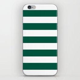 Castleton green - solid color - white stripes pattern iPhone Skin