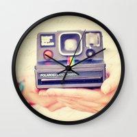 polaroid Wall Clocks featuring Polaroid by Irene Miravete