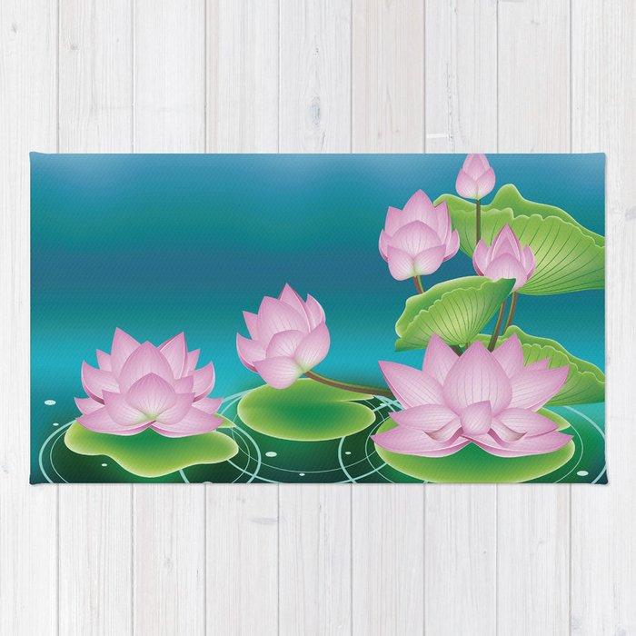 Lotus flower with leaves rug by annartshock society6 lotus flower with leaves rug mightylinksfo