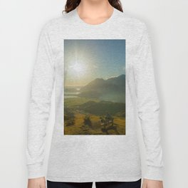 lake wanaka covered in blue colors new zealand beauties and mountains at sunrise person Long Sleeve T-shirt