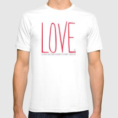 love is  MEDIUM White Mens Fitted Tee