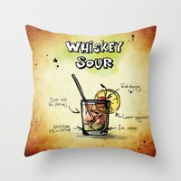 whiskey Throw Pillows featuring Whiskey Sour by jamfoto