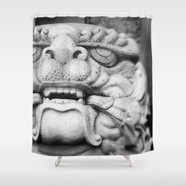 Foo Dog - black and white Shower Curtain