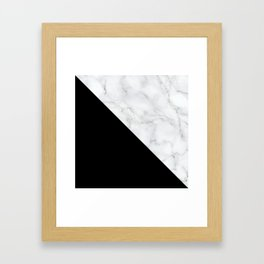 Marble Black and White Abstract Color Block Framed Art Print