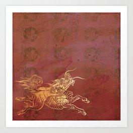 Caravans II:  Asian Print Happy Beast pink and gold Art Print