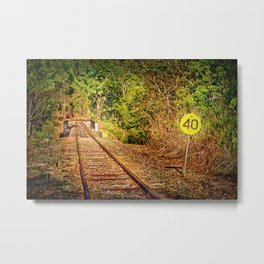 Old train track and speed sign Metal Print