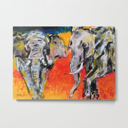 Two African Elephants playing Metal Print
