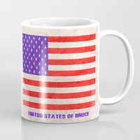 springsteen Mugs featuring UNITED STATES OF BRUCE SPRINGSTEEN by Rising Trout Design