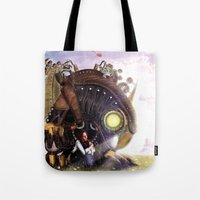 bioshock infinite Tote Bags featuring Bioshock Infinite: The SongBird by GIOdesign