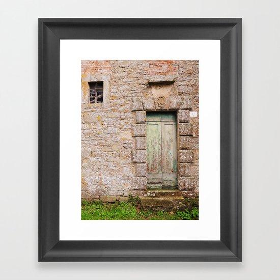Green Door - Cortona, Italy Framed Art Print