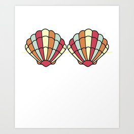 Mermaid Seashell Bra Funny Fake Brassiere Summer Art Print