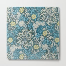 William Morris,art nouveau pattern, seaweed,blue,florals,vintage Metal Print