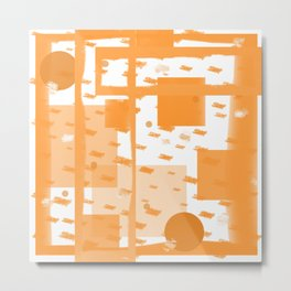 Orange Geometric Abstract Metal Print