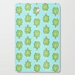 Tortoise Pattern with aqua background Cutting Board