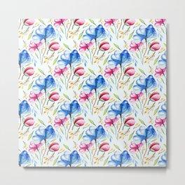 Hand painted pink blue watercolor elegant floral leaves pattern Metal Print