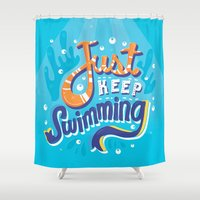 risa rodil Shower Curtains featuring Just Keep Swimming by Risa Rodil