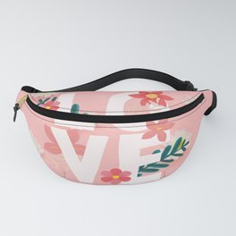 Love Floral Pink Pattern Daisy Flowers Spring Print Fanny Pack
