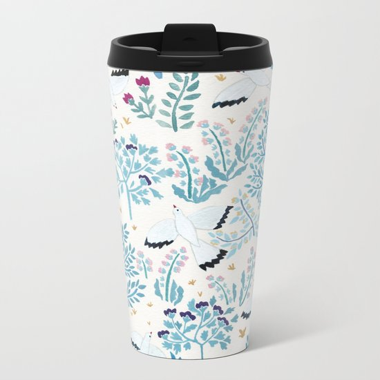 white birds garden Metal Travel Mug
