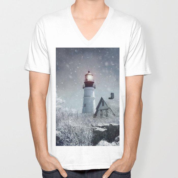 New England Winter Lighthouse Unisex V-Neck