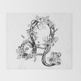 lion black and white zodiac sign Throw Blanket