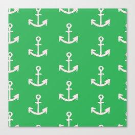 Anchors - Green Canvas Print