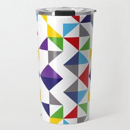 Geometric Pattern Colorful, white background. Good vibes by Cokowo. Travel Mug