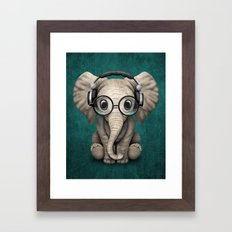 Cute Baby Elephant Dj Wearing Headphones and Glasses on Blue Framed Art Print
