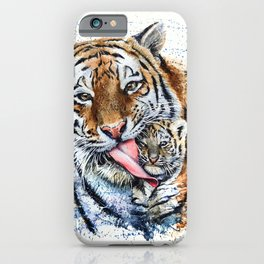 Tiger with cub iPhone Case