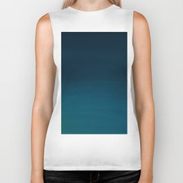 Navy blue teal hand painted watercolor paint ombre Biker Tank