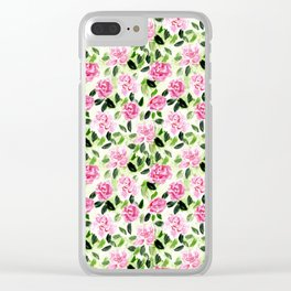 Pink and Green Garden Floral Pattern Clear iPhone Case