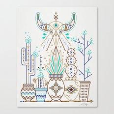 Santa Fe Garden – Turquoise & Brown Canvas Print