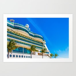 Curved Glass Over Balconies on Luxury Cruise Ship Art Print