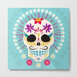 Dios De Los Muertos Day of the Dead Sugar Skull Fiesta Metal Print